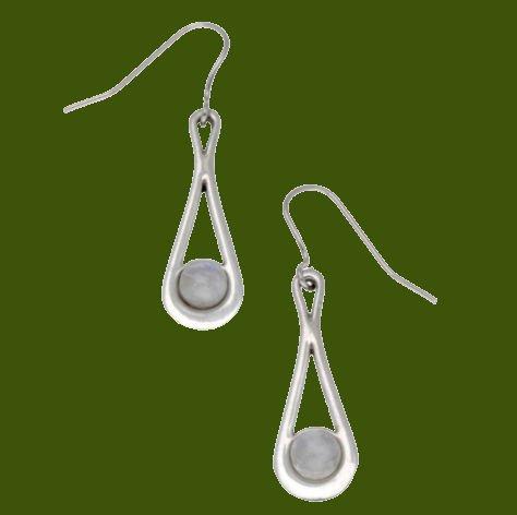 Image 0 of Teardrop Moonstone Glass Stone Stylish Pewter Sheppard Hook Earrings