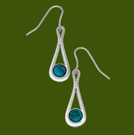 Image 0 of Teardrop Turquoise Glass Stone Stylish Pewter Sheppard Hook Earrings