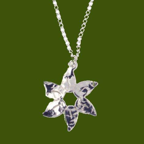 Image 0 of Petal Flower Planished Polished Stylish Pewter Pendant
