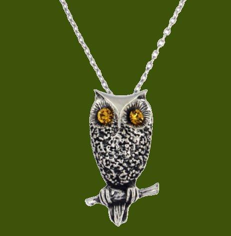 Image 0 of Owl Bird Themed Textured Yellow Crystal Stylish Pewter Pendant