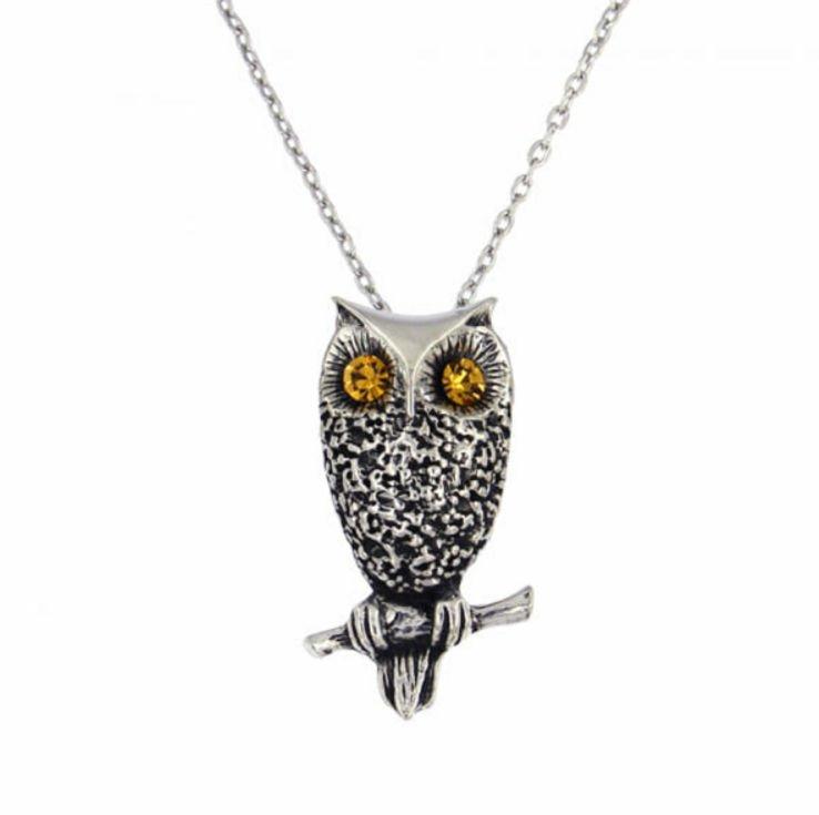 Image 1 of Owl Bird Themed Textured Yellow Crystal Stylish Pewter Pendant