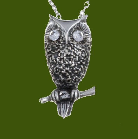Image 0 of Owl Bird Themed Textured Clear Crystal Stylish Pewter Pendant