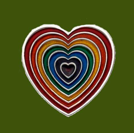Image 0 of Heart Rainbow Enamel Love Themed Stylish Pewter Brooch