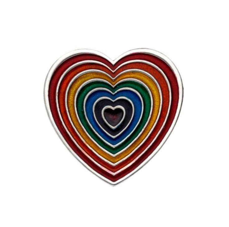 Image 1 of Heart Rainbow Enamel Love Themed Stylish Pewter Brooch