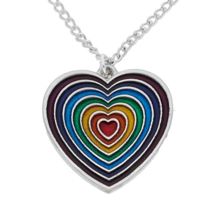 Image 1 of Heart Rainbow Enamel Love Themed Stylish Pewter Pendant