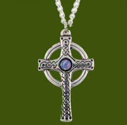 Ancient Knotwork Celtic Cross Opal Glass Stone Stylish Pewter Pendant