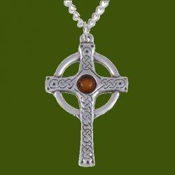 Ancient Knotwork Celtic Cross Amber Glass Stone Stylish Pewter Pendant