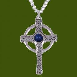 Ancient Knotwork Celtic Cross Lapis Lazuli Glass Stone Stylish Pewter Pendant