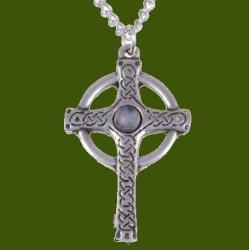 Ancient Knotwork Celtic Cross Moonstone Glass Stone Stylish Pewter Pendant