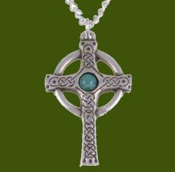 Ancient Knotwork Celtic Cross Turquoise Glass Stone Stylish Pewter Pendant