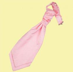 Baby Pink Boys Plain Satin Pre-tied Ruche Wedding Cravat Necktie