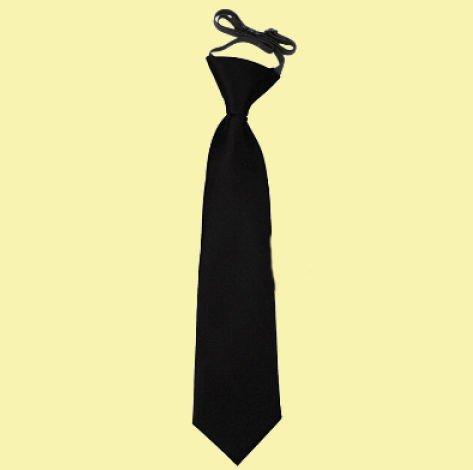 Image 0 of Black Boys Plain Satin Elastic Tie Wedding Necktie
