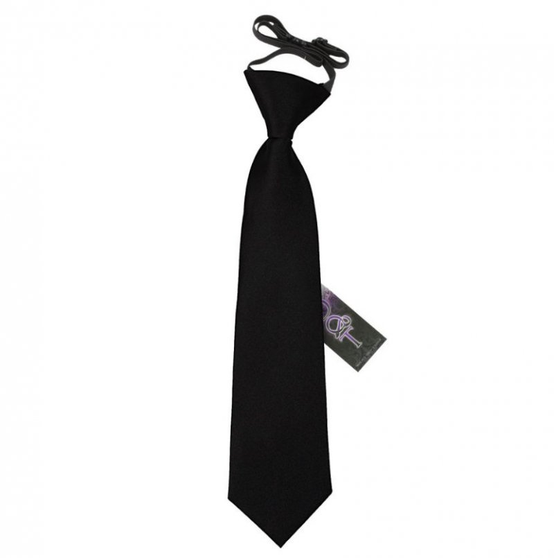Image 1 of Black Boys Plain Satin Elastic Tie Wedding Necktie