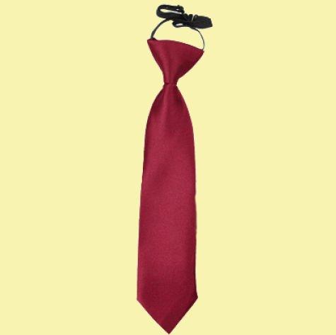 Image 0 of Burgundy Boys Plain Satin Elastic Tie Wedding Necktie