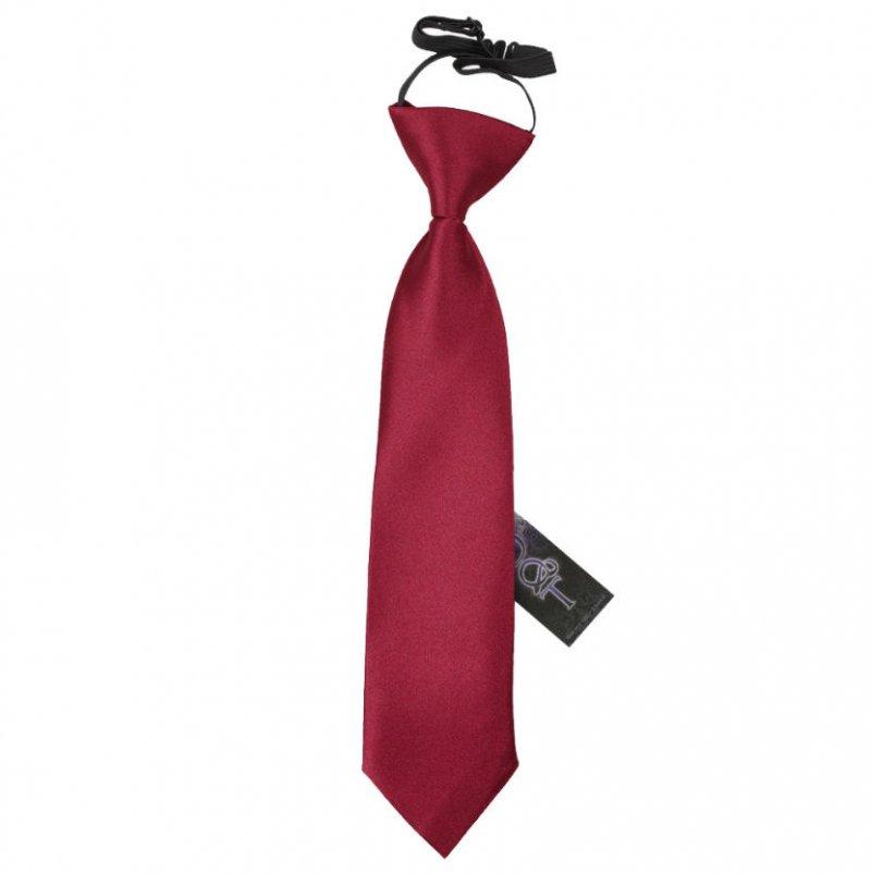 Image 1 of Burgundy Boys Plain Satin Elastic Tie Wedding Necktie