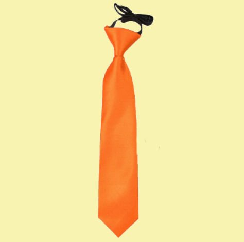 Image 0 of Burnt Orange Boys Plain Satin Elastic Tie Wedding Necktie