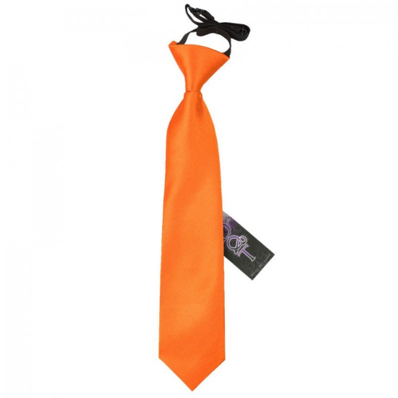 Image 1 of Burnt Orange Boys Plain Satin Elastic Tie Wedding Necktie