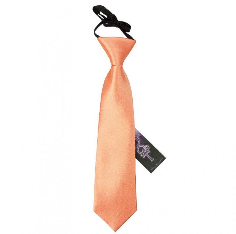 Image 1 of Coral Boys Plain Satin Elastic Tie Wedding Necktie