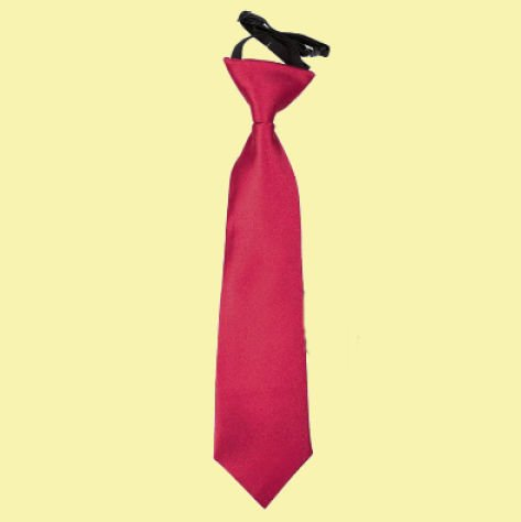 Image 0 of Crimson Red Boys Plain Satin Elastic Tie Wedding Necktie