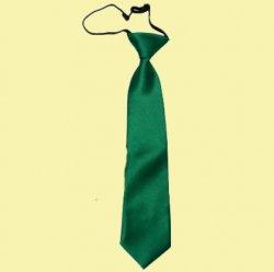 Emerald Green Boys Plain Satin Elastic Tie Wedding Necktie