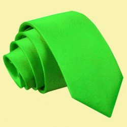 Apple Green Boys Plain Satin Straight Tie Wedding Necktie