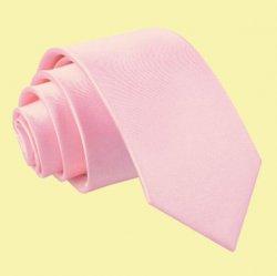 Baby Pink Boys Plain Satin Straight Tie Wedding Necktie