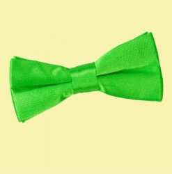 Apple Green Boys Plain Satin Bow Tie Wedding Neck Bow Tie