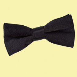 Black Boys Plain Satin Bow Tie Wedding Neck Bow Tie