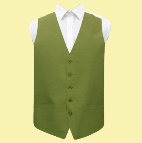 Image 0 of Olive Green Mens Plain Shantung Wedding Vest Waistcoat