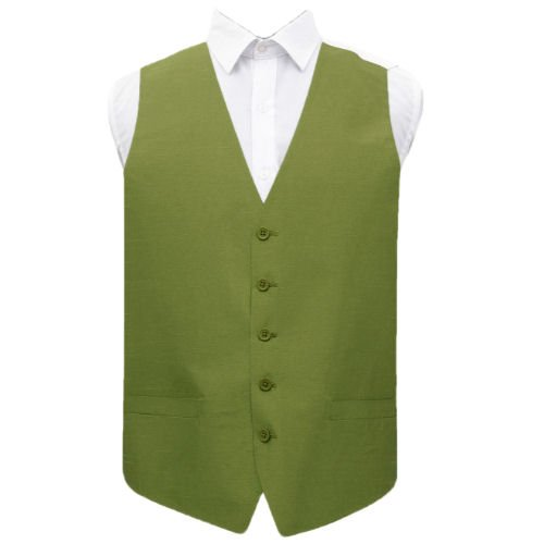 Image 1 of Olive Green Mens Plain Shantung Wedding Vest Waistcoat