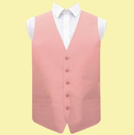 Image 0 of Peach Pink Mens Plain Shantung Wedding Vest Waistcoat