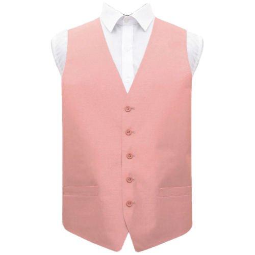 Image 1 of Peach Pink Mens Plain Shantung Wedding Vest Waistcoat