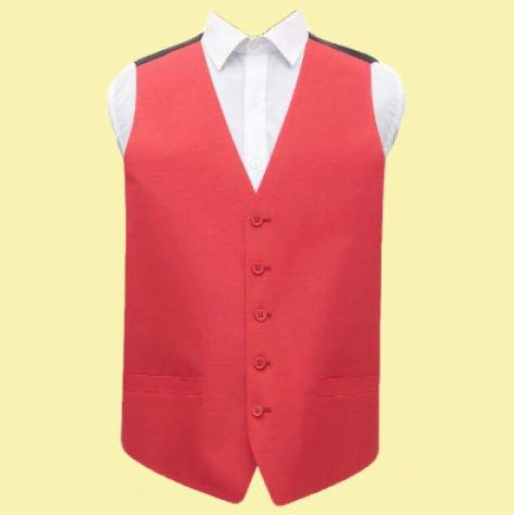Image 0 of Scarlet Red Mens Plain Shantung Wedding Vest Waistcoat