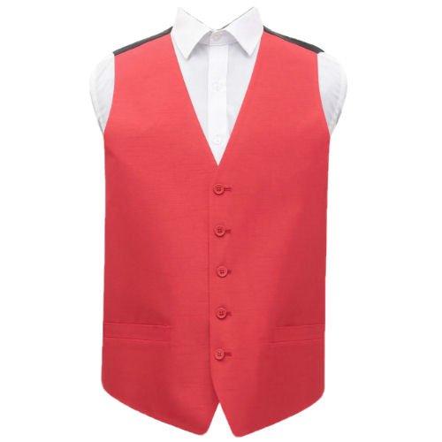 Image 1 of Scarlet Red Mens Plain Shantung Wedding Vest Waistcoat