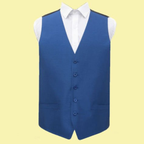 Image 0 of Royal Blue Mens Plain Shantung Wedding Vest Waistcoat