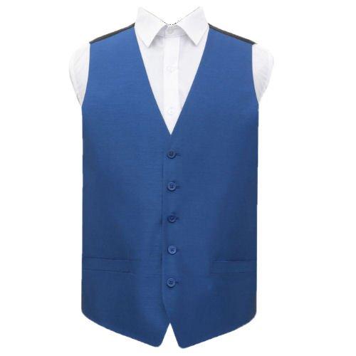 Image 1 of Royal Blue Mens Plain Shantung Wedding Vest Waistcoat
