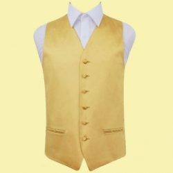 Gold Mens Plain Satin Wedding Vest Waistcoat