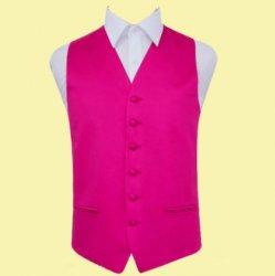 Hot Pink Mens Plain Satin Wedding Vest Waistcoat