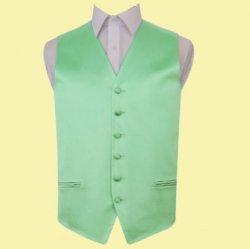 Mint Green Mens Plain Satin Wedding Vest Waistcoat