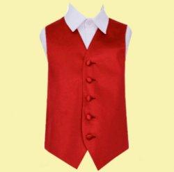 Apple Red Boys Plain Satin Wedding Vest Waistcoat