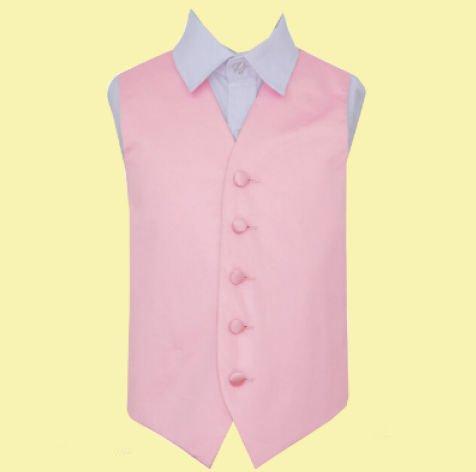 Image 0 of Baby Pink Boys Plain Satin Wedding Vest Waistcoat