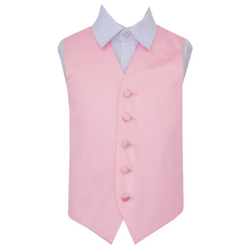 Image 1 of Baby Pink Boys Plain Satin Wedding Vest Waistcoat