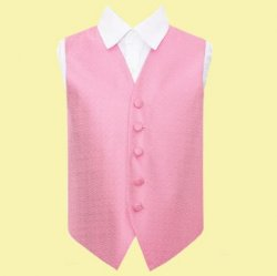 Baby Pink Boys Greek Key Pattern Microfibre Wedding Vest Waistcoat