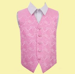 Baby Pink Boys Paisley Pattern Microfibre Wedding Vest Waistcoat