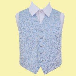 Baby Blue Boys Swirl Pattern Microfibre Wedding Vest Waistcoat