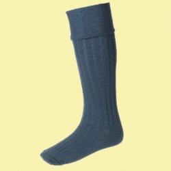 Ancient Blue Wool Blend Glenmore Full Length Mens Kilt Hose Highland Socks