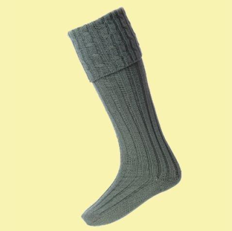 Image 0 of Ancient Green Wool Blend Harris Full Length Mens Kilt Hose Highland Socks