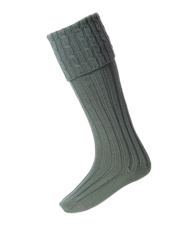 Image 1 of Ancient Green Wool Blend Harris Full Length Mens Kilt Hose Highland Socks