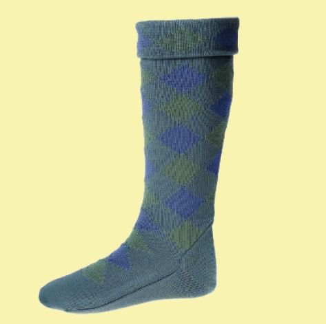 Image 0 of Ancient Blue Ancient Green Diced Wool Full Length Mens Kilt Hose Highland Socks