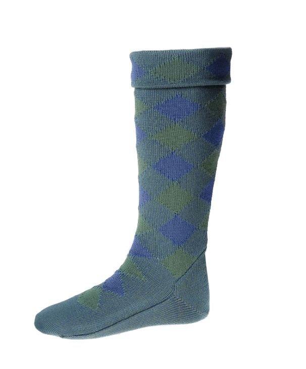 Image 1 of Ancient Blue Ancient Green Diced Wool Full Length Mens Kilt Hose Highland Socks